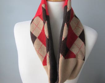 Recycled Argyle Cashmere cowl, Recycled Cashmere circle cowl scarf. Repurposed upcycled cashmere sweater scarf, cashmere  neck wrap.