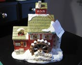 Department 56, snow village, J. Young 39 s Granary, hand painted ceramic, retired, christmas village, display, holiday decor, light (51497)