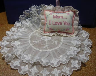 """Vintage lace embrodiered doily, miniature pillow, """"Mom... I Love You"""" , home decor, shabby chic, gift, bedroom decor (Doily & Pillow)"""