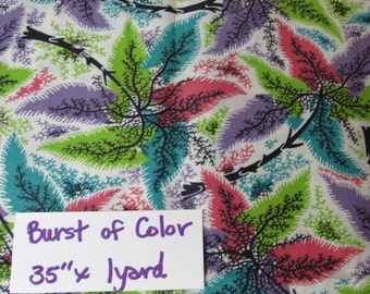 """Leaves, colorful, bright fabric, cotton, quilting, sewing, supplies, 35"""" x 1 yard (Burst of Color)"""