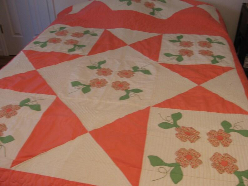 Vintage quilt floral applique handmade quilted stippling etsy