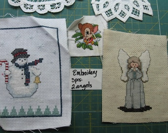 Angels, embroidery pieces, snowman, reindeer, lace, embellishments, home decor, decorations, holiday, vintage (Emb. and Angels)