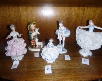DRESDEN, 4 choices, Irish, HUMMEL, German, figurine, collectible vintage, Shepherd boy, farm, lamb, collection, folk art, lady, decor