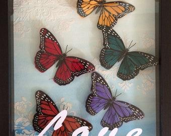 Love and butterflies shadow box art