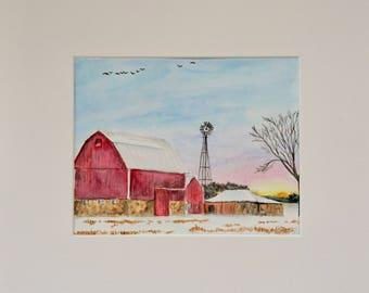 Original watercolor painting barn farm winter matted art