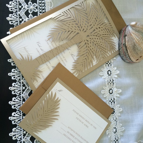 Destination Wedding Invitation With Palm Tree Lasercut Palm Etsy