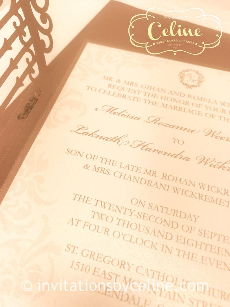 Romantic Iron Gate LaserCut Wedding Invitation with custom initials, Die  Cut Monogram Gate with Folding doors, Regal Luxury Invitation