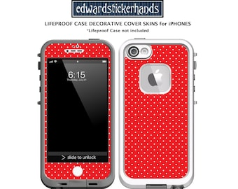 Lifeproof Case Decal Sticker Skin for iPhones - Red + White Polkadot Pattern!