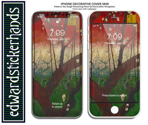 Iphone Decorative Cover Skin Van Gogh Flowering Plum Orchard After Hirogishe Pattern
