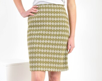 Handmade knee length, high waisted, pencil skirt