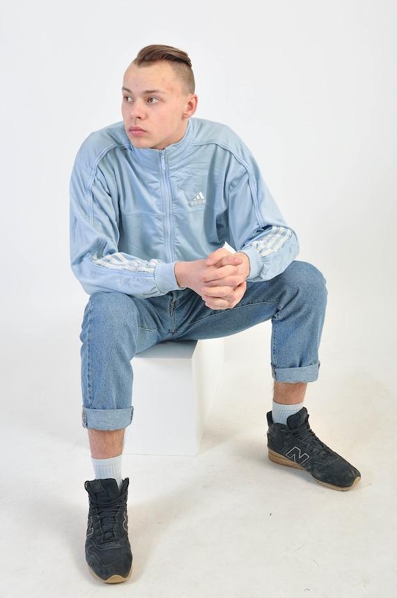 Veste de jogging ADIDAS des années 90 en bleu clair