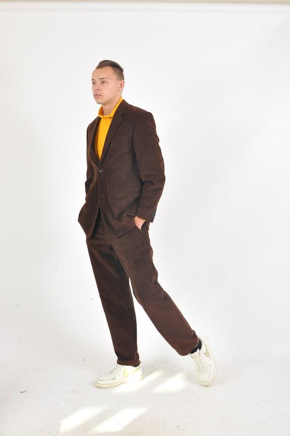 Vintage 90s corduroy retro suit in brown