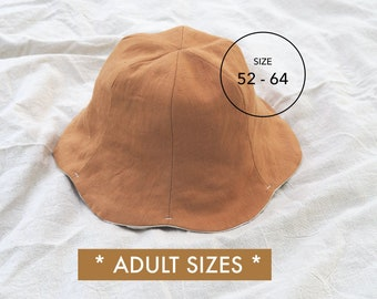 ADULT SIZES *** Summer Tulip Hat   Linen Hat   Bucket Hat Pattern   SIZE 52-64