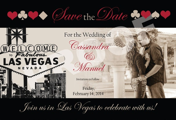 Las Vegas Themed Wedding Save The Date With Photo Etsy