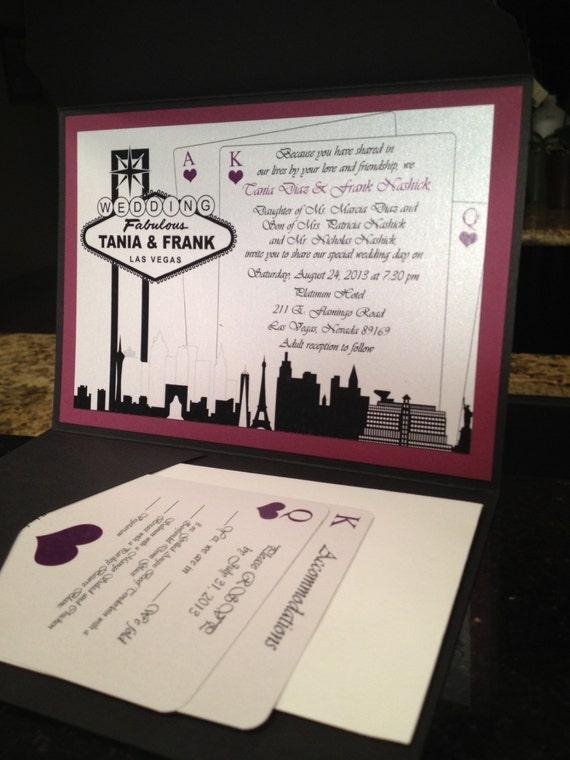 Elegant Las Vegas Themed Wedding Invitation Custom Colors Etsy