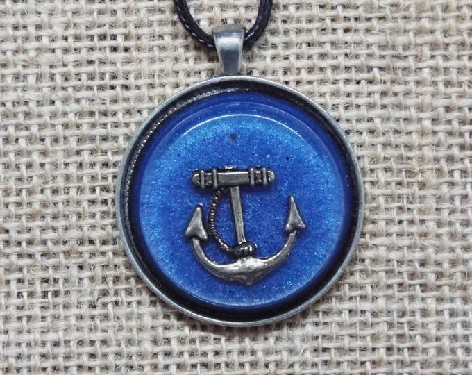 Anchor in blue sea - Saa-Orgone Energy Device Pendant