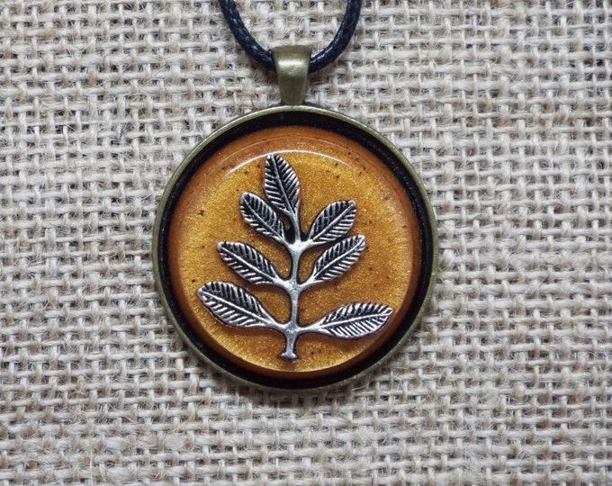 Leaves on Orange -  Saa-Orgone Energy Device Pendant