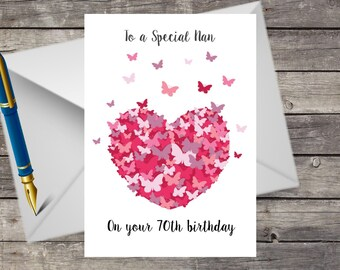 Personalised Nan Grandma Nanny Nana 40th 50th 60th 70th 80th 90th Birthday Card Any Age