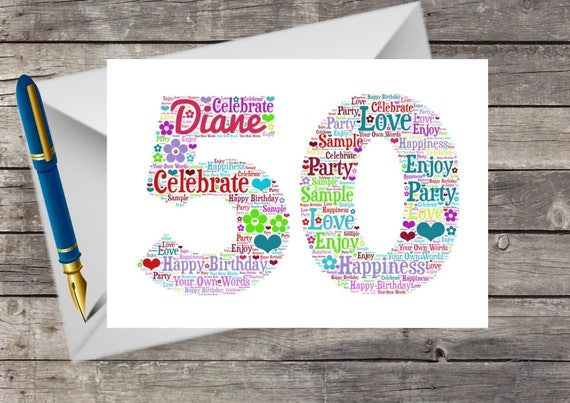 Personalised 50th Birthday Card Word Art Cloud For