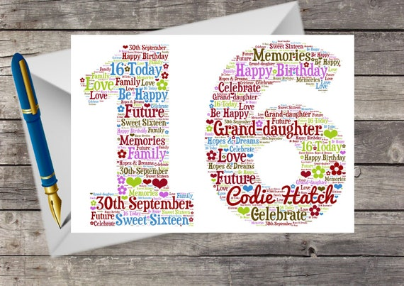 Personalised 16th Birthday Card Word Art Word Cloud For Etsy