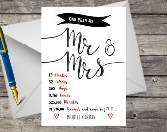 Handmade Personalised 1st Wedding Anniversary Card, A5 with Envelope, Paper One Year, Mum & Dad, Friends, Sister, Husband, Wife