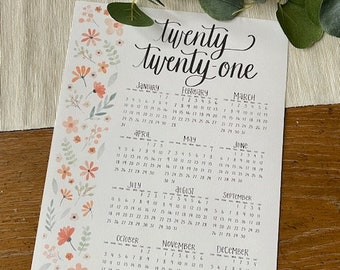 2021 Year at a Glance Hand Lettered Printable Calendar