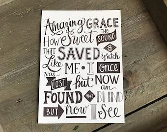 Amazing Grace Print, Amazing Grace Wall Art, Hand Lettered Amazing Grace Print