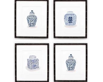 Blue and White Ginger Jar Prints - Set of 4, Blue and White Wall Art, Blue and White Porcelain Prints, Watercolor Blue and White Prints