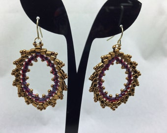 Iridescent Purple and Bronze Cube Earrings
