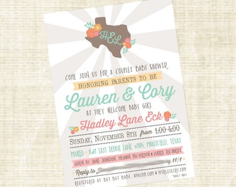 Texas Themed Baby Girl Shower Invitation