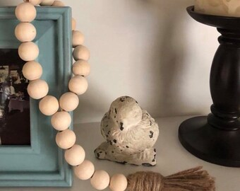 Farmhouse country wooden bead tassel