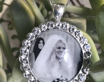 Wedding Bridal Bouquet custom Memorial Photo Pendant charm Jewelry & Bridesmaids gifts