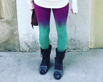 Handmade Yoga Leggings, Aqua Leggings, Tie Dye Yoga Leggings, Colorful Leggings, Unique Yoga Leggings, Gamer Gift