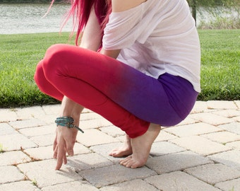 THE BEST Yoga Pants! Red and purple hand dyed leggings by OmBeautiful, Perfect gift for the yoga girl in your life, yoga girl gift, yoga