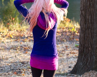Festival Clothing, Hand Dyed, Ombre Pink and Purple Shirt, Hoodie Dress, Hooded Dress, Music Festival Dress