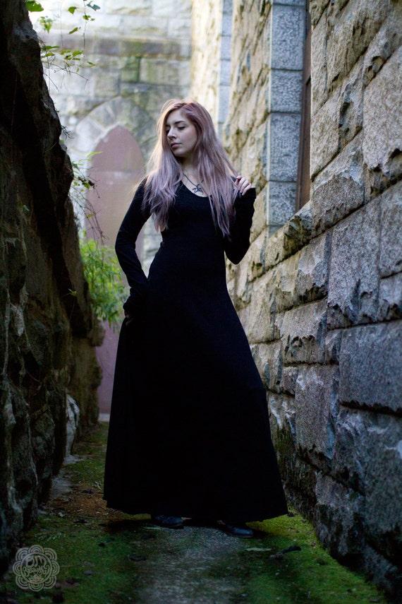Gothic Dress Medieval Dress Witch Dress Black Maxi Dress Etsy