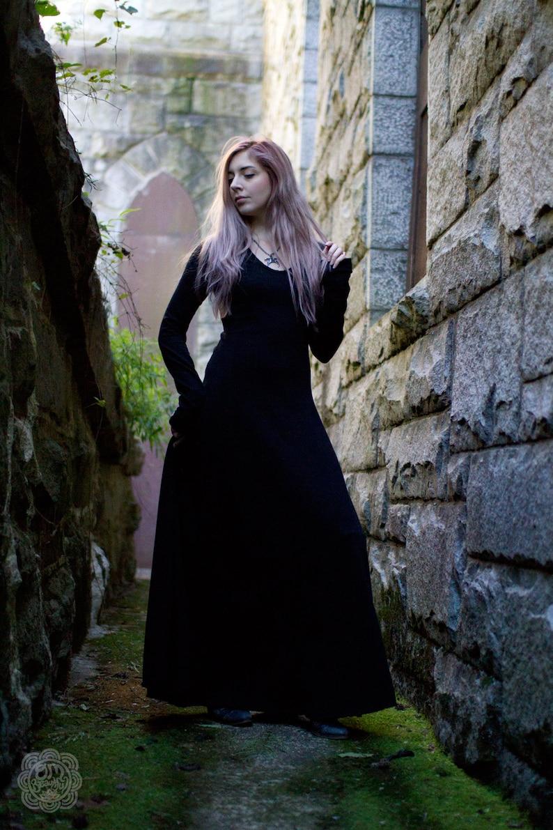 Gothic Dress Medieval Dress Witch Dress  Black Maxi Dress image 0