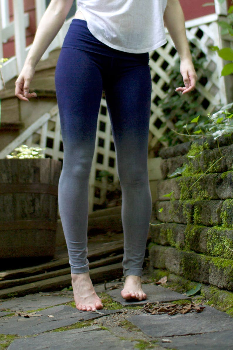 Gray and Navy Leggings For Yoga and Aerial Dance Handmade by image 0