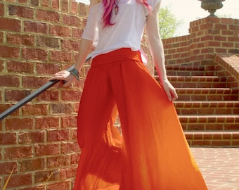 Orange Harem Pants, Wide Legged Pants, Palazzos are great to lounge or meditate in, take them with you on your next Yoga Retreat!