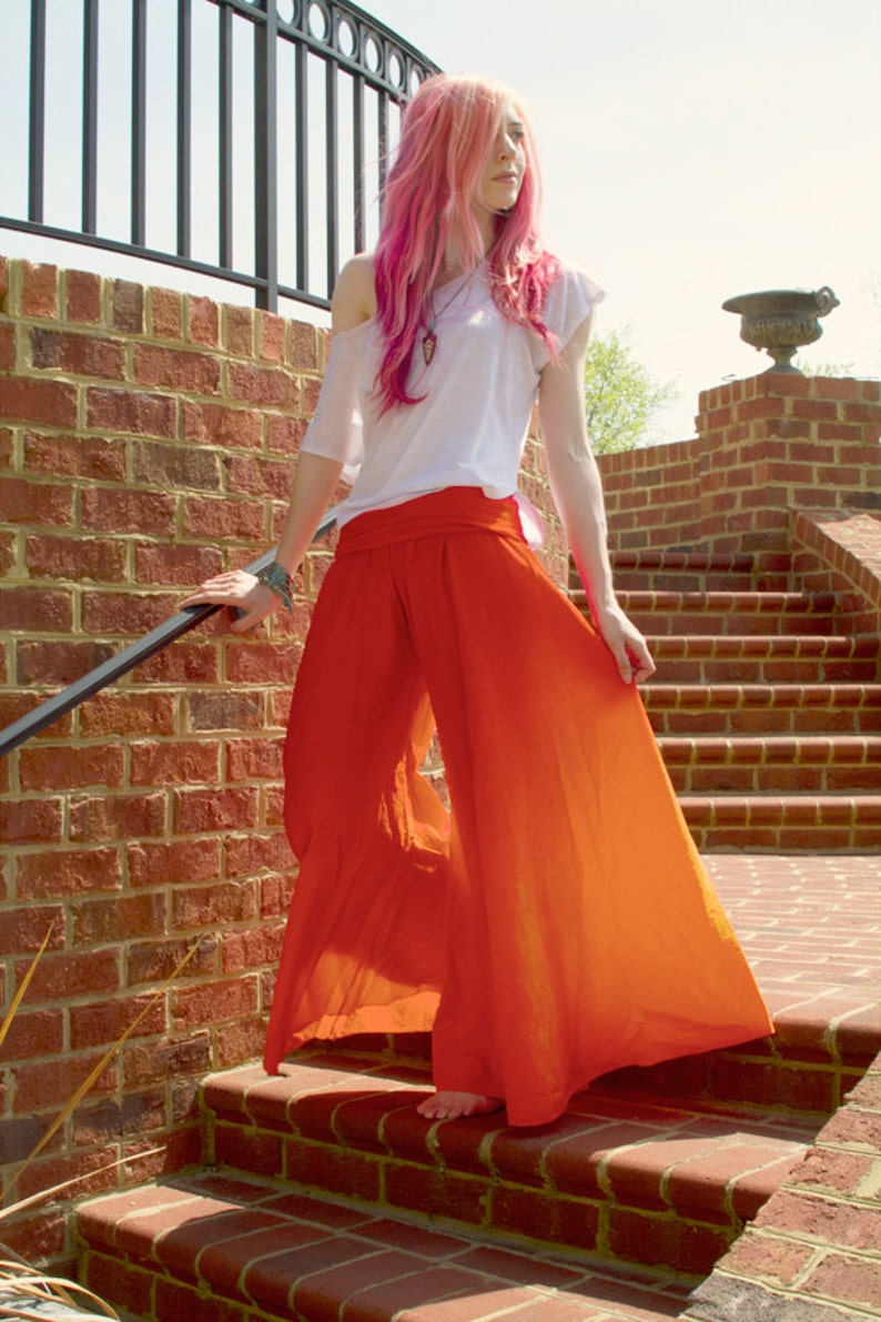 Goddess Pants: Orange Harem Pants Wide Leg Pants Hippie image 0