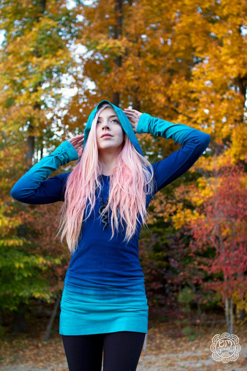 Hooded Dress Blue Hoodie Ombre Shirt Ombre Dress Ombre image 0
