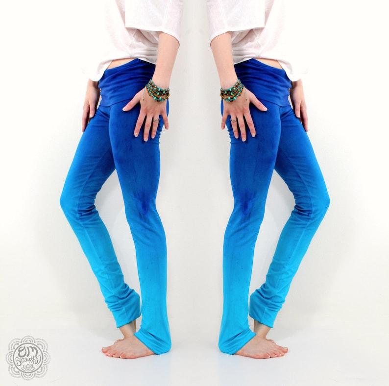 3128cc68dfd9c3 Handmade Yoga Leggings Blue Leggings Ombre Colorful Yoga | Etsy