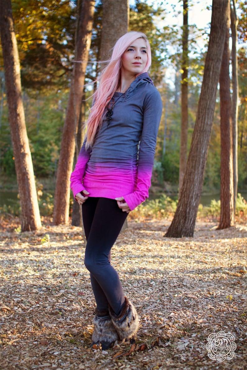 Tie Dye Hoodie Gray Hoodie Pink Hoodie Hoodie Dress Long image 0