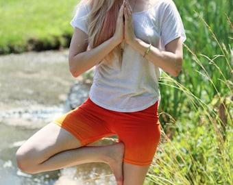 OmBeautiful Orange Ombre Yoga Shorts, Yoga Clothes, Yoga Clothing, Running Shorts