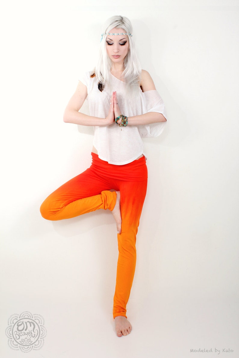 Orange Leggings Ombre Yoga Leggings Long Yoga Leggings Tie image 0