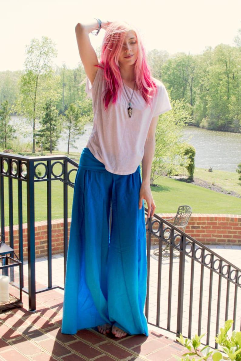 Blue Wide Leg Pants Bohemian Clothing Comfortable Pants image 0