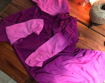 CLEARANCE: Hot Pink and Raspberry Purple Hoodie Dress, Hooded Sweater - Size Small