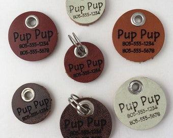 Custom Leather Dog ID tags! Personalized with your dogs name and phone number!