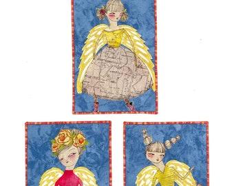 Angel Collage Fabric Postcard Set