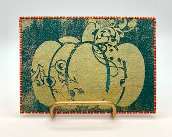 Golden Pumpkin Fabric Postcard